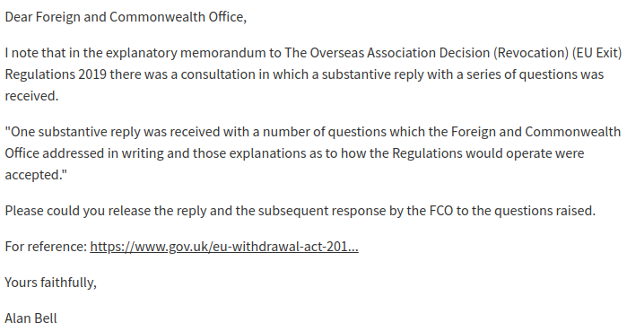 a screenshot of the FOI request