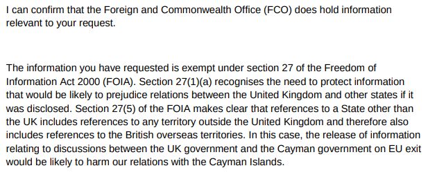 a screenshot of the reply to the FOI