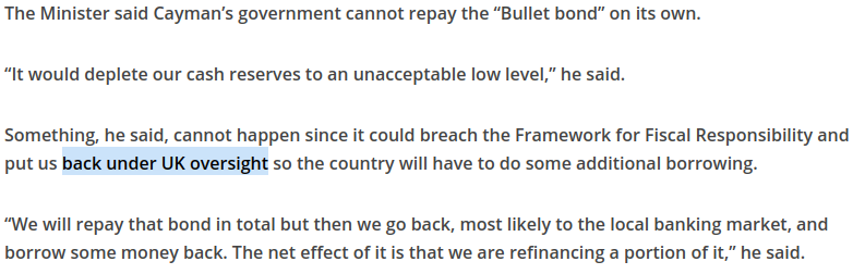 a screenshot from the article highlighting the concern that caymen would be put back under UK oversight
